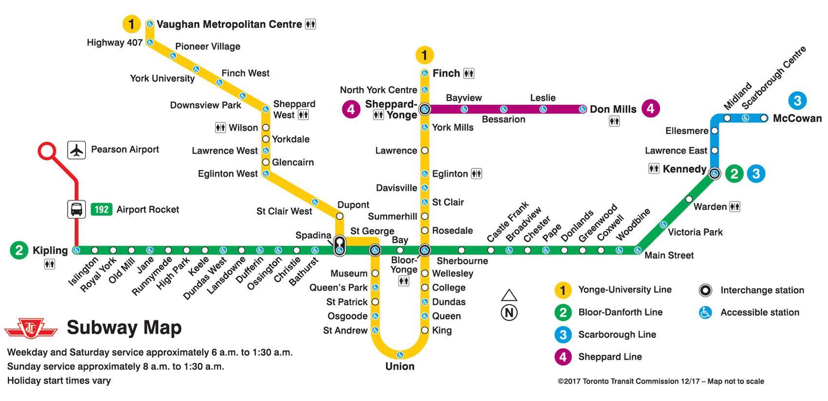 Toronto U Bahn Karte Metro Karte Von Toronto Kanada